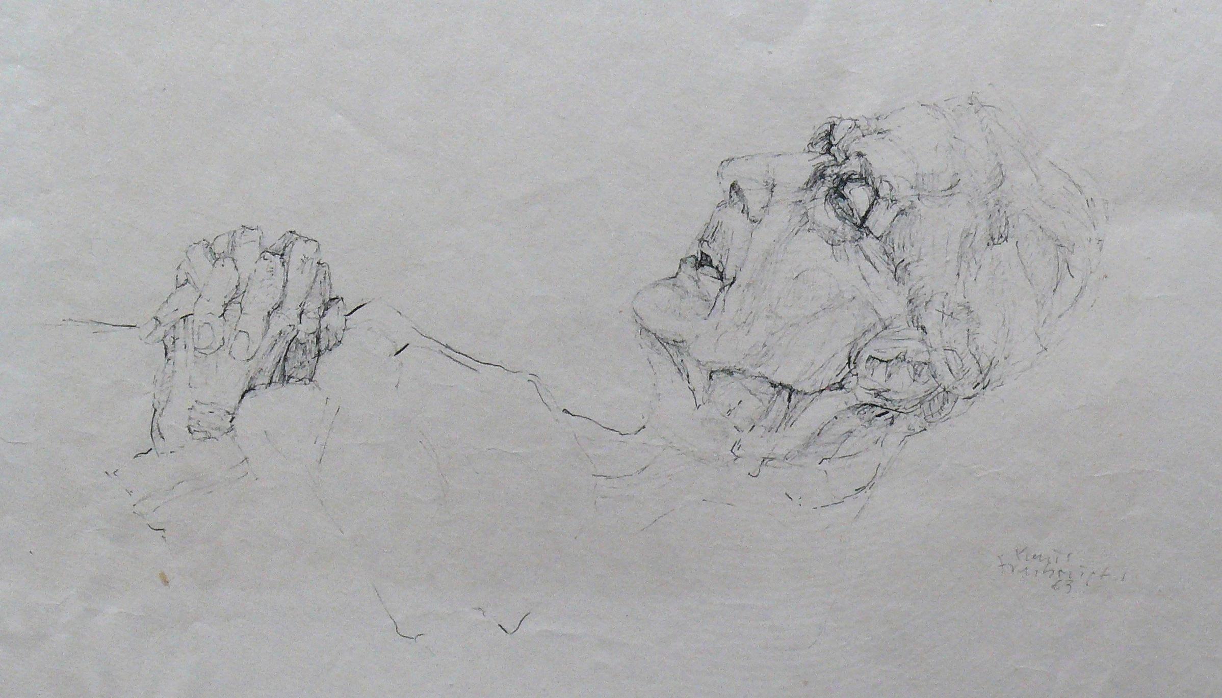 Anna Grau Totenbett 1963 Tusche Papier ca. 40x28cm