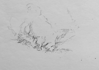 Bernd schlafend 1964 Tusche Papier ca. 27x20cm