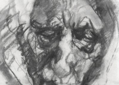Ursulas alte Magd 1964 Holzkohle Papier 17x22cm