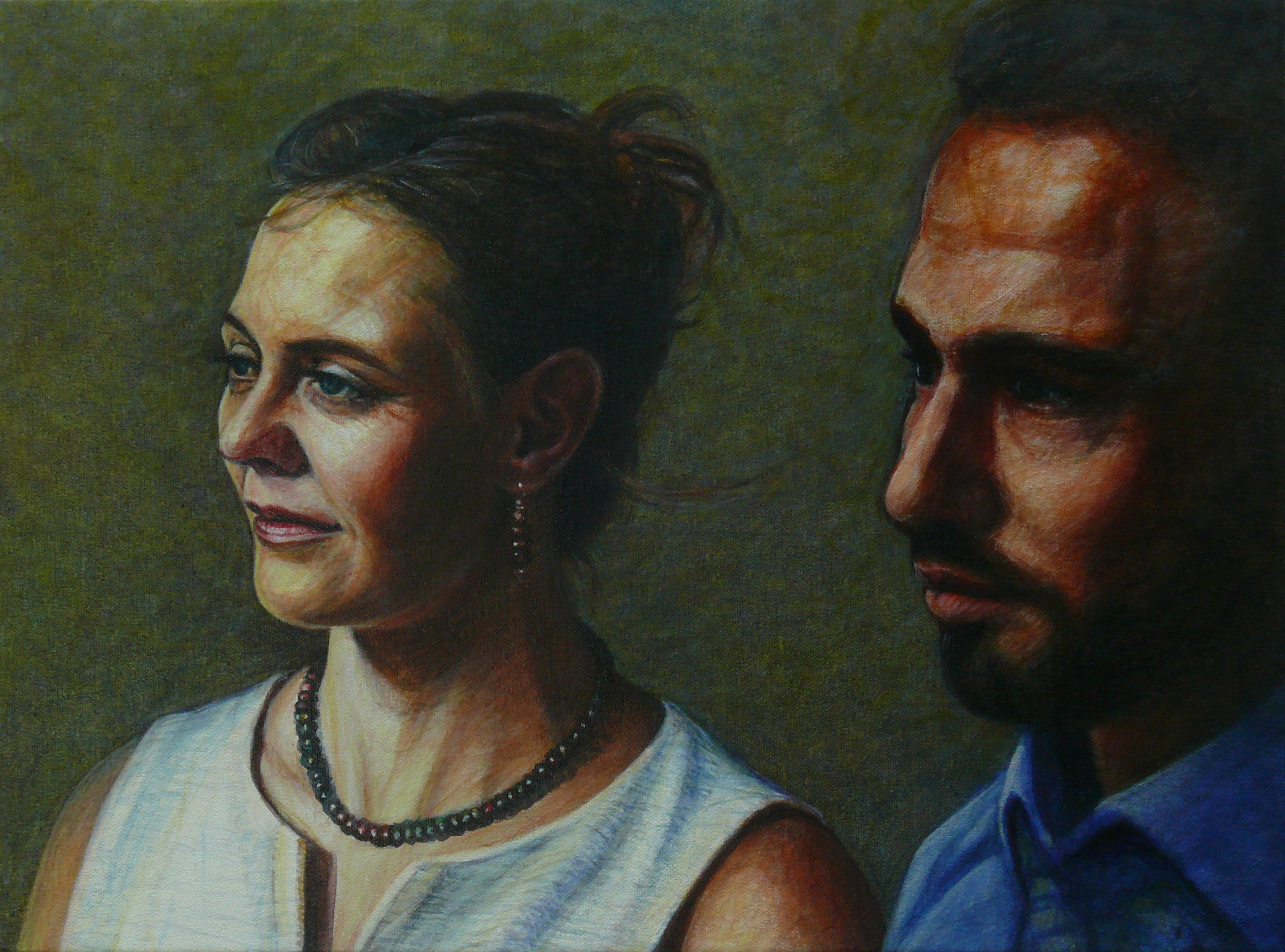 Philipp und Julia (links) 2020 Acryl Leinwand 48x36 cm